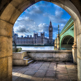 A View of Big Ben by Mark Shoesmith - Buildings & Architecture Public & Historical ( sky, hdr, blue, westminster, bridge, ben, big,  )