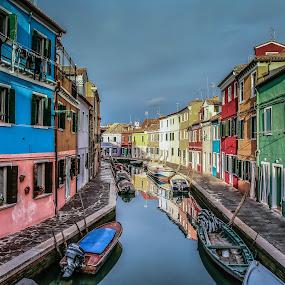 Reflections and Colours by Arif Sarıyıldız - City,  Street & Park  Street Scenes ( burano, venice, reflections, italy, island )