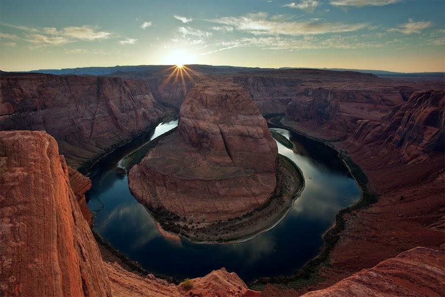 Horseshoe Bend Sunset by Brens Photo's - Landscapes Sunsets & Sunrises ( page, colardo river, arizona, lake meade, horseshoe bend )