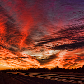 Trackside Dawn by Ryan Trullinger - Landscapes Cloud Formations ( clouds, railroad tracks, dawn, twilight, trees )