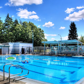 Al Anderson Pool by Ernie Kasper - Sports & Fitness Swimming ( clouds, water, training, recreational, canada, pool, sports, langley, swimming, british columbia )