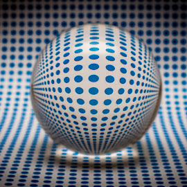 Orb by Simon Sweetman - Abstract Patterns ( reflection, blue, glass, ord, glassspots, refraction )