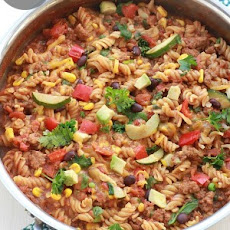 {One Skillet} Taco Pasta with Vegetables