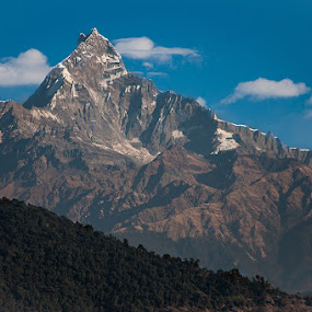 Fishtail mountain by Vorravut Thanareukchai - Landscapes Mountains & Hills ( shadow, summit, fishtail, light, nepal )