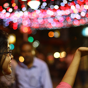 touching  lights by DrArindam Ghosh - People Street & Candids ( touching lights, dream, reality, bokeh, street lights )