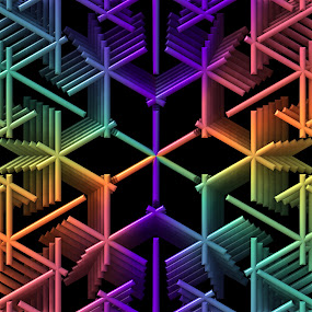 Color Weave by Lyle Hatch - Illustration Abstract & Patterns ( 3d, colorful, colors, 3-d, symmetry, geometric, fractal, rainbow, mandala, three dimensional )
