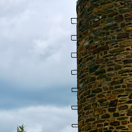 Silo Rungs by Lynn Chendorain - Buildings & Architecture Architectural Detail ( clouds, ladder, up close, climb, tower, sky, blue sky, climb up, stone work, stone, steps, rungs, silo )