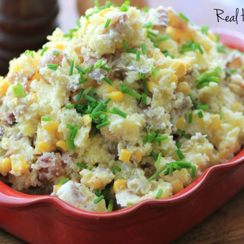 Warm Bacon Corn Smashed Potato Salad
