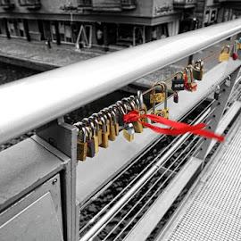 locks by Kathleen Devai - Digital Art Things ( keys, locks, buildings, ribbob, bridge )