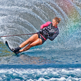 Lucy makes a rainbow in the water  by Tony Munro - Sports & Fitness Watersports ( #lifeonthewater, #outdoorpursuits, #rainbow, #watersports, #britishskichampion, #sportswomen, #wakeboard, #gbwaterskiteam, #whitworthwaterskiacademycic )