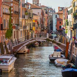 Venetian Canal by Cecile Nowers - City,  Street & Park  Vistas ( colour, venice, architecture, bridge, canal, italy,  )