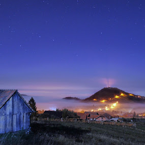 Sea of fog by Zoran Stanko - Buildings & Architecture Homes ( home, fog, croatia, weather, long exposure, night, landscape, hrvatska, mist )