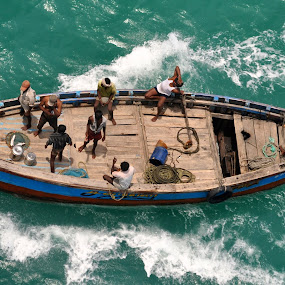 Men in Boat by Prashanth UC - Transportation Boats