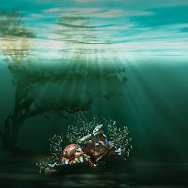 Awakening... by Nektarios Karagiannis - Digital Art People ( tree, underwater, woman, fine art, sea, seascape, light )