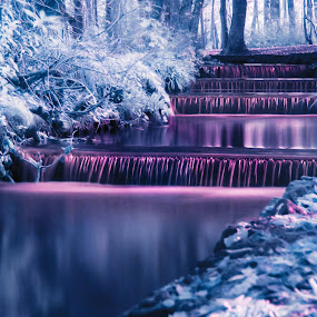 Infrared Cascade by Hannah Rugg - Landscapes Waterscapes ( water, waterscape, infrared, cascade, cornwall )
