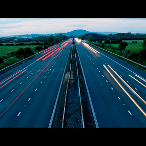 M5 by Colin Strain - Transportation Automobiles ( slow shutter speed, light trail, m5, cars, motorway, road )