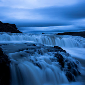 Just before night falls by Matthew Vasko - Landscapes Waterscapes ( iceland, nature, twilight, waterfall, landscape )