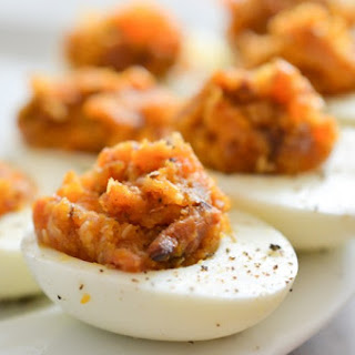 Bacon Deviled Eggs with Caramelized Onions and Cheddar Cheese