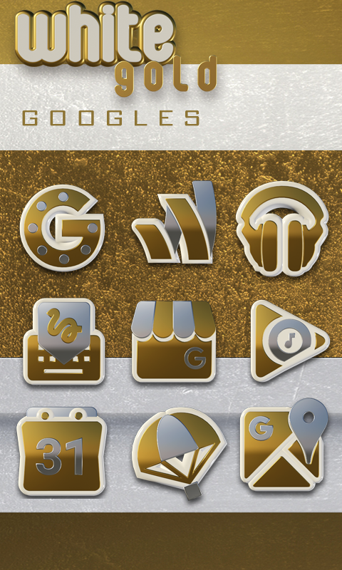 Icon Pack White Gold 3D Screenshot 4