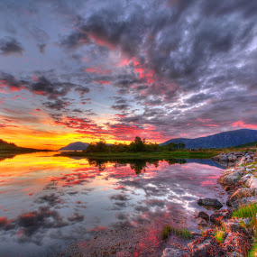 Sunset HDR by Benny Høynes - Landscapes Sunsets & Sunrises ( hdr, sunset, sea, lake, evening, colours, norway, , #GARYFONGDRAMATICLIGHT, #WTFBOBDAVIS )