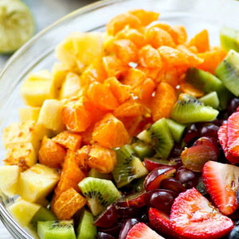 Rainbow Fruit Salad with Ginger Lime Dressing