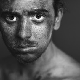 Here by Marcus Roes - People Portraits of Men ( face, model, black and white, people, portrait,  )