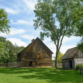 Sturdy Barn by Robert Coffey - Buildings & Architecture Public & Historical ( clouds, farm, building, barn, vintage, trees, log )