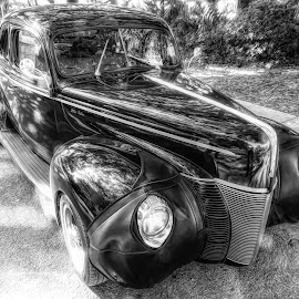 Classic Ford by Dave Walters - Black & White Street & Candid ( black & white, cars, crusin the coast 2017, ford, transportation )