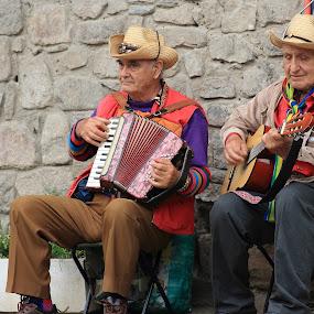 Street musicians by Sergey Sokolov - People Musicians & Entertainers ( music, street, road, entertainment, urban, girl, traffic, violin, performance, guitar, musician, entertainer, man, note )