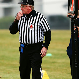 Whistling by Keith Johnston - Sports & Fitness American and Canadian football ( field, sports official, football, sideline, referee, male, play, striped, game, stripes, whistle )