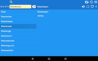 Screenshot of German Turkish Dictionary