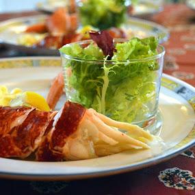 Lobster with lemon and salad by Emilie Robert - Food & Drink Plated Food ( salad, starter, mediterranean, christmas, walnut, lobster, restaurant, oil, lemon )