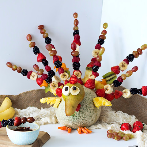 FRUIT TURKEY with CHOCOLATE FONDUE