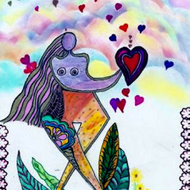 Lady Love by Nancy Bowen - Drawing All Drawing ( rainbow colored clouds, hearts, abstract art, flowers, leaves )