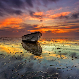 A Finest Hour by Choky Ochtavian Watulingas - Landscapes Waterscapes ( clouds, seaweeds, reflections, seascape, sunrise, boat, skies )