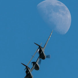 Fly Me to the Moon by Patrick Barron - Transportation Airplanes ( moon, lightning, p-38, eaa, airventure )