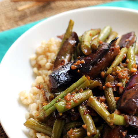Szechuan Spicy Garlic Eggplant and String Bean Stir Fry