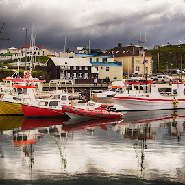 Boats in Harbor by Richard Michael Lingo - Transportation Boats ( water, iceland, harbor, boats, transportation )