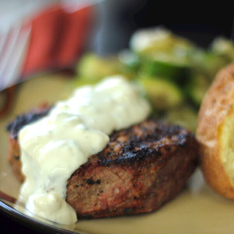 Filet Mignon with Melted Blue Cheese and Two Dipping Sauces
