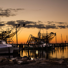 The Beauty of Southeast Louisiana by Victoria Evans - Products & Objects Business Objects ( orange, sunset, shrimp, boats, gulf of mexico, commercial fisherman, dock )