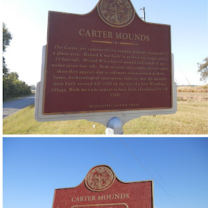 The Carter site consists of two earthen mounds separated by a plaza area. Mound A was built in at least two stages and is 13 feet tall. Mound Bis a burial mound and stands at just under seven feet ...