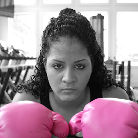 I Can And I Will by Steven Perez - Sports & Fitness Boxing ( amature, boxing gloves, black and white, fierce, sports, gloves, pink, boxing, gym, pretty )