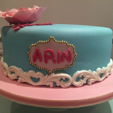 Turquoise and Pink Cake