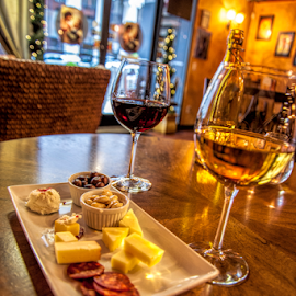 Wine and Cheese and Meats by Kimberly Sheppard - Food & Drink Meats & Cheeses ( wine, cheese, table, meats, wine glasses )