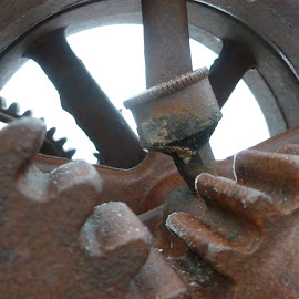 Gears by Jennifer Ablicki - Artistic Objects Industrial Objects ( sprockets, motor, rust, gears, iron )
