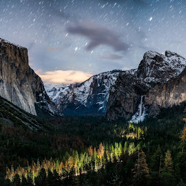 Tunnel View - Nights by Chris Kelley - Landscapes Starscapes ( national park, yosemite, long exposure, astrophotography )