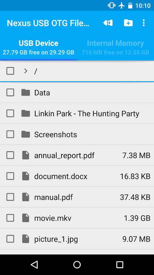 USB OTG File Manager for Nexus Screenshot 1