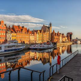 Sunrise Gdansk by David Guest - City,  Street & Park  Historic Districts ( gdansk, sunrise, poland, river, water )