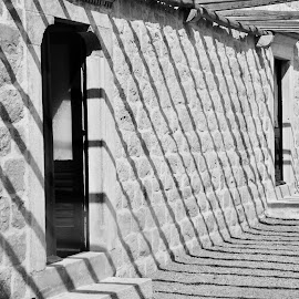 light and shadow by Kristina Samardzic - Black & White Buildings & Architecture ( artistic objects, art, shadow, island, mljet, artistic, still life, stone, croatia, stripes, light, street, black and white, architecture )