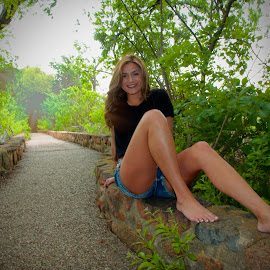 Barefoot by Kathy Suttles - People Street & Candids ( oklahoma, path, stone, brunette )